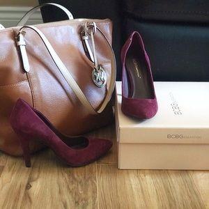 BCBG wine coloured suede heels
